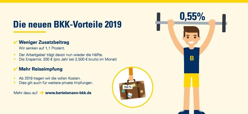 Die neuen BKK-Vorteile 2019: Weniger Beitrag - mehr Leistung